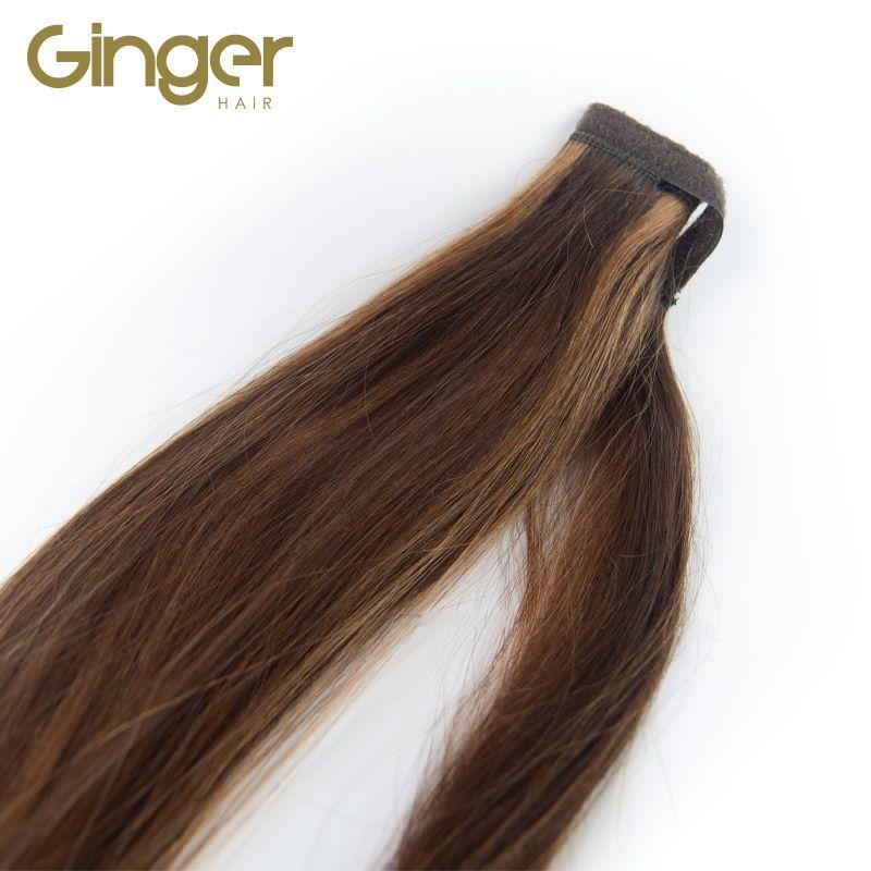 Coleta postiza de pelo natura Ginger, detalle del lazo de velcro