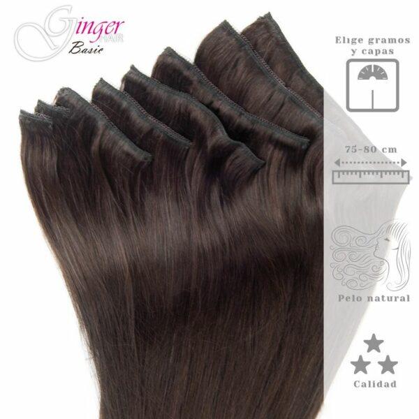 Extensiones de clip ginger basis pelo natural 8 capas 75-80 cm