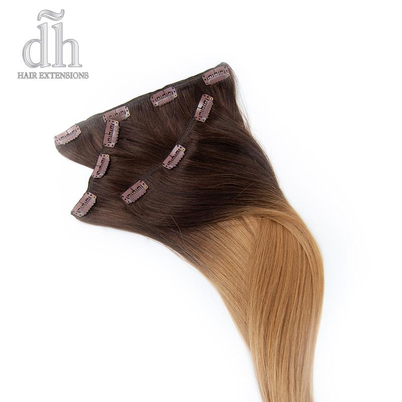 Extensiones de clip californianas Remy - DH Hair Extensions, vista de la cara interna