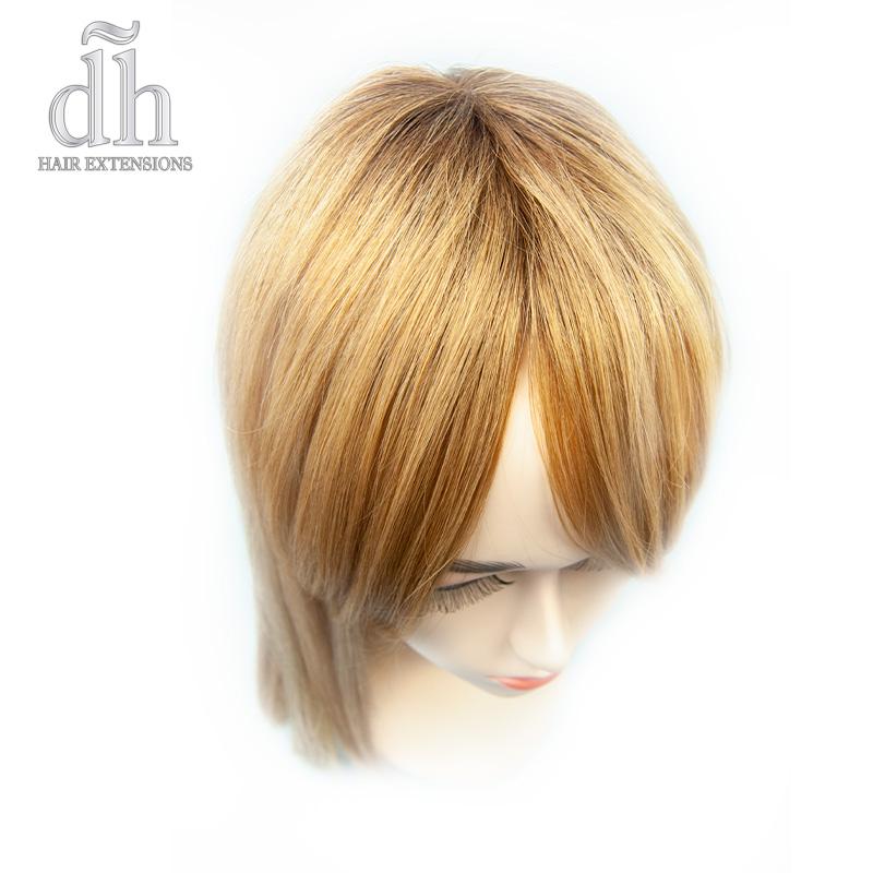 Detalle del efecto raíz del flequillo postizo remy de DH Hair Extensions