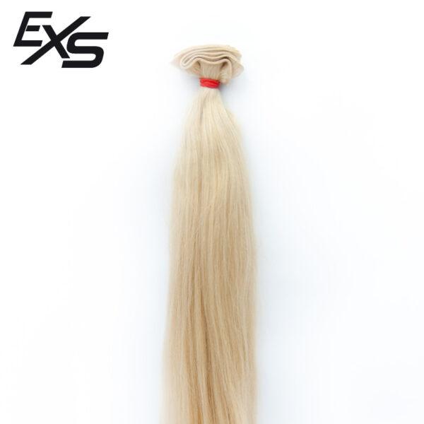 Pelo virgen de cabello europeo cosido decolorado con textura lisa