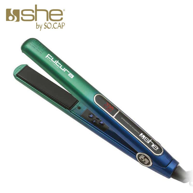 Plancha alisadora Futura color azul y verde