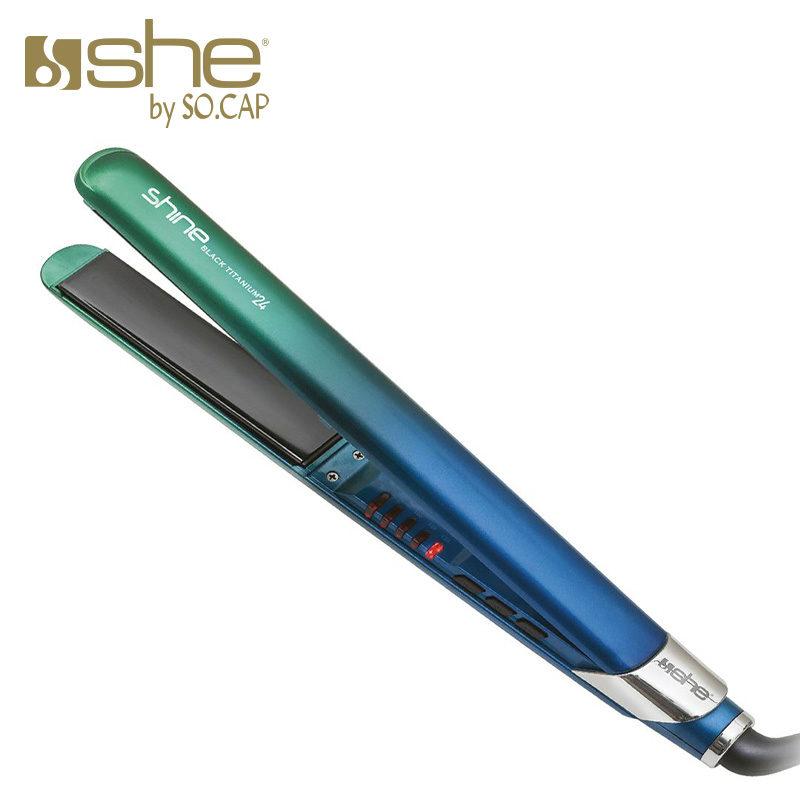 Plancha alisadora Black Titanium 24 color verde y azul