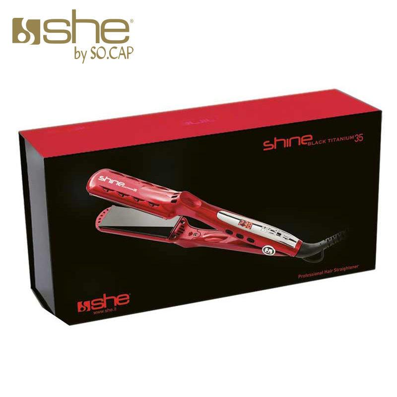 Packaging plancha alisadora Black Titanium 35 color rojo