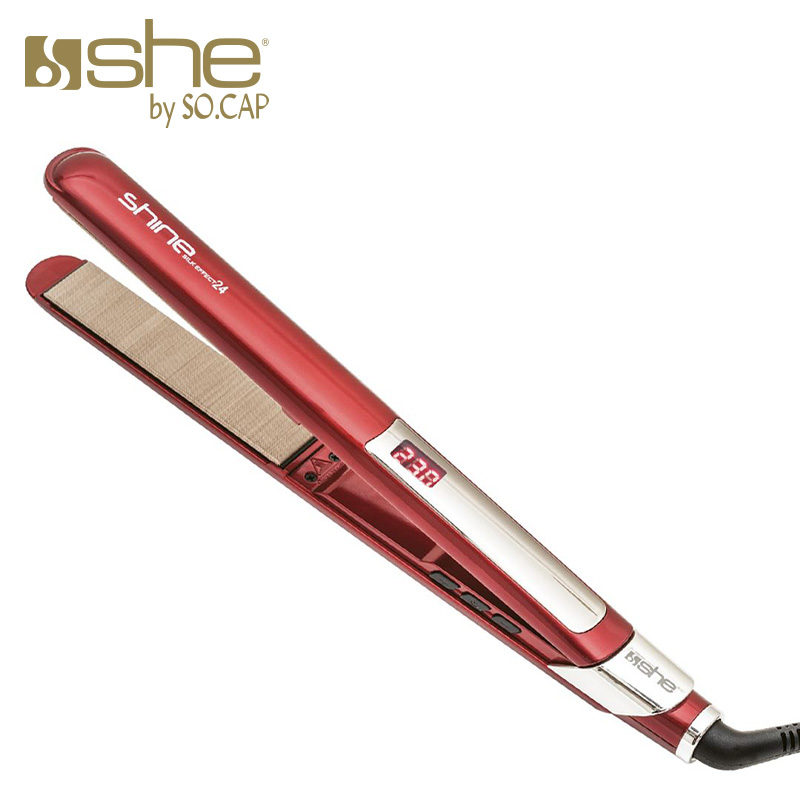 Plancha alisadora Shine Silk Effect 24 color rojo
