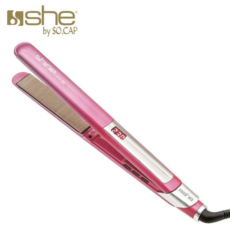 Plancha alisadora Shine Silk Effect 24 color rosa