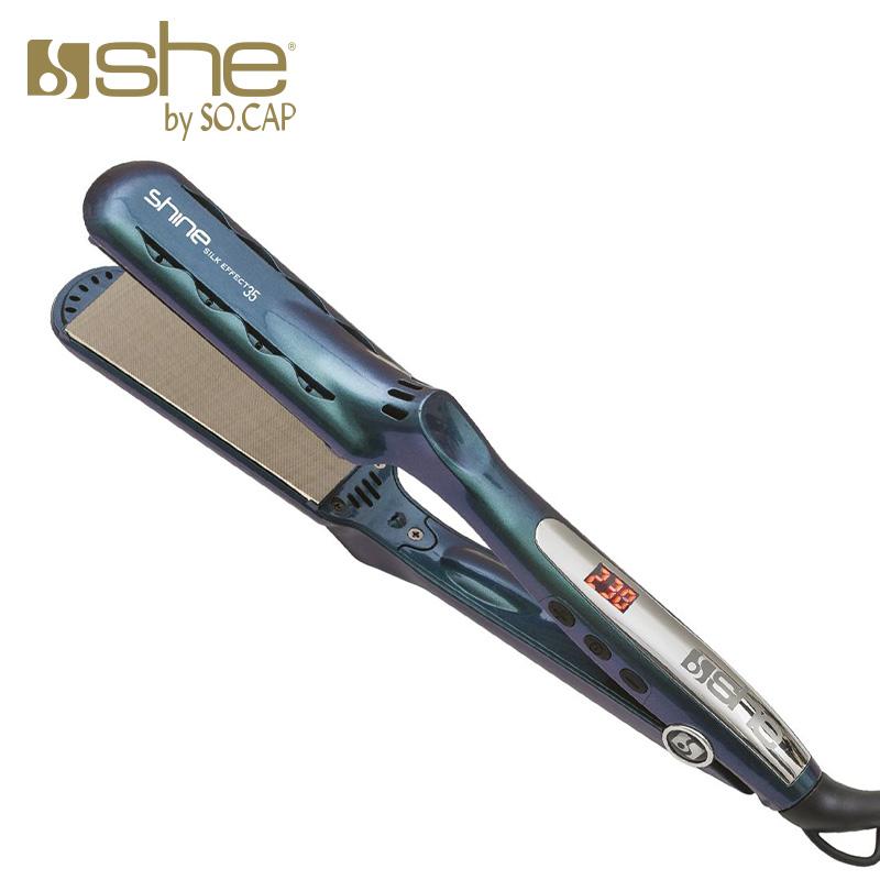 Plancha alisadora Shine Silk Effect 35 color azul