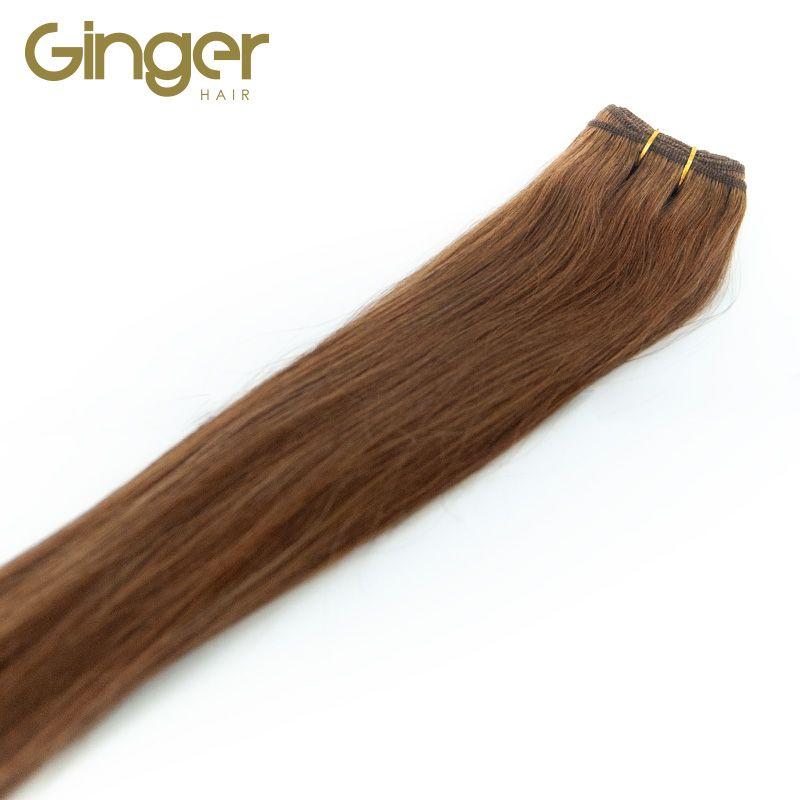 Caída del pelo natural de las extensiones tejidas lisas de Ginger