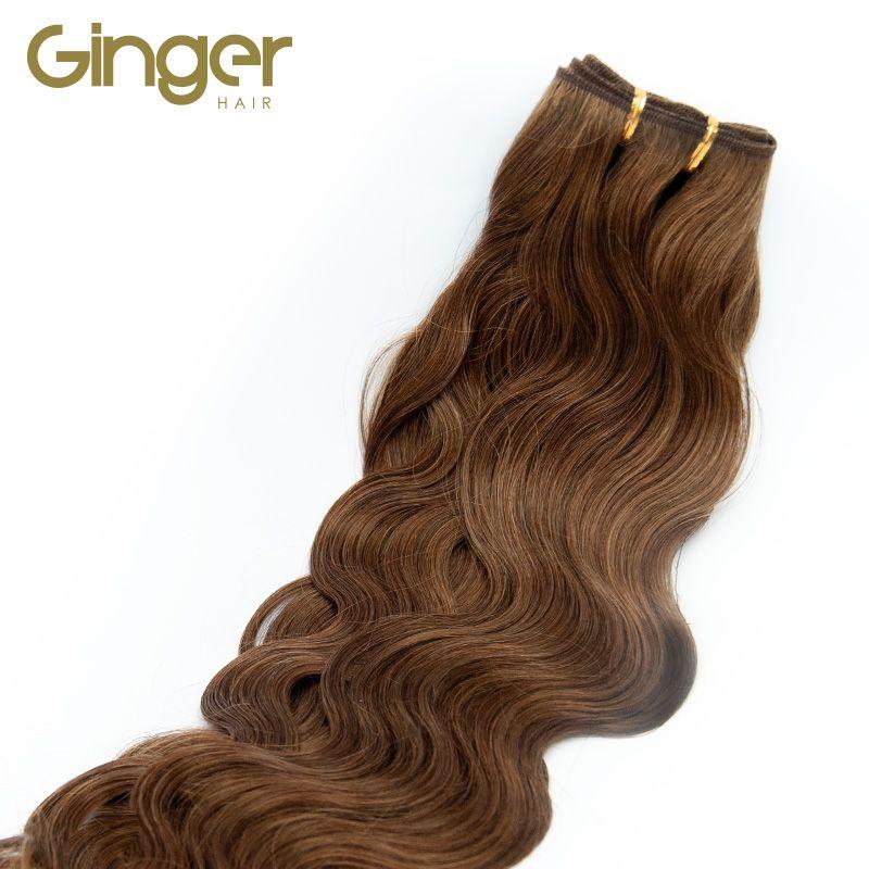 Caída del pelo natural de las extensiones tejidas onduladas de Ginger