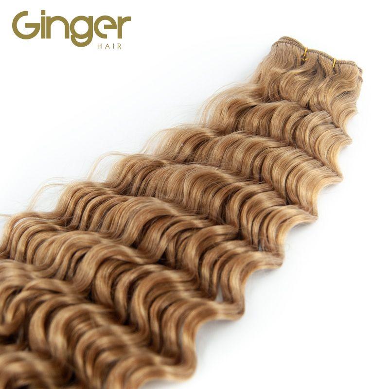 Caída del pelo natural de las extensiones tejidas rizadas de Ginger