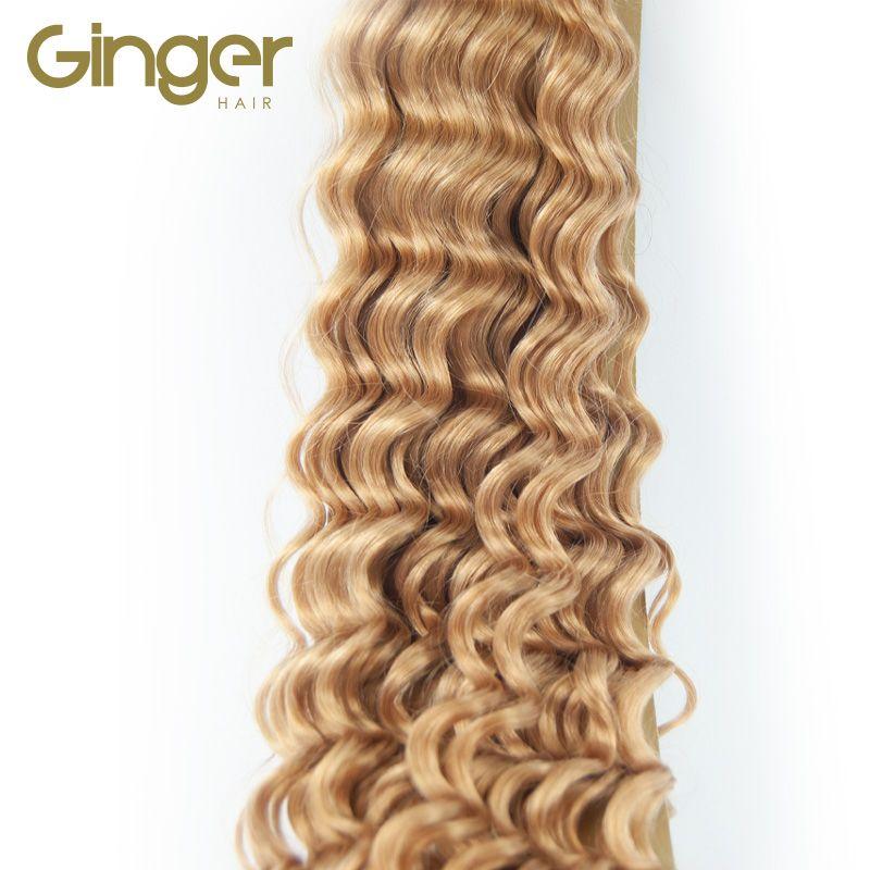 Detalle de la textura rizada de las extensiones cosidas de Ginger