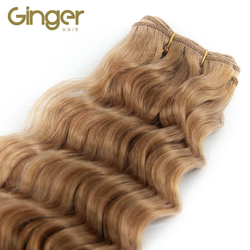 Detalle de zona tejida de las extensiones de cortina rizada de Ginger,
