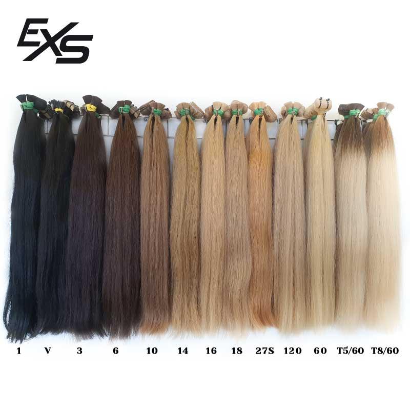 Carta de color de las extensiones de cabello virgen asiático