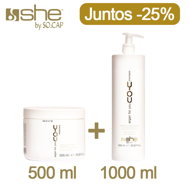 Promoción especial shampoo y mascarilla grandes, juntos con un descuento del 25%. Solos solo tienen un 15%