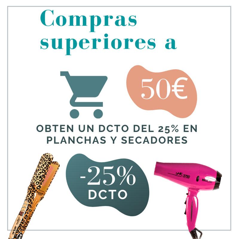Por compras superiores a 50€, consigue un dcto del 25% en planchas profesionales she