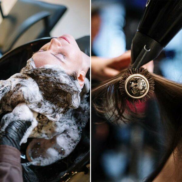 Servicio de lavado y peinado tanto de melena corta como larga